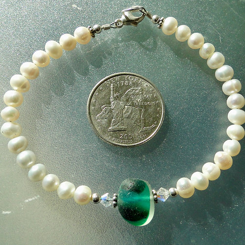 Freshwater Pearl Sterling Silver Teal English Sea Glass Bracelet #16
