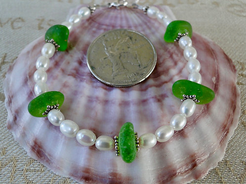 Freshwater Pearl Sterling Silver Green Sea Glass Bracelet #6