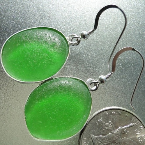 Bezel Set Kelly Green Sea Glass Earrings #9