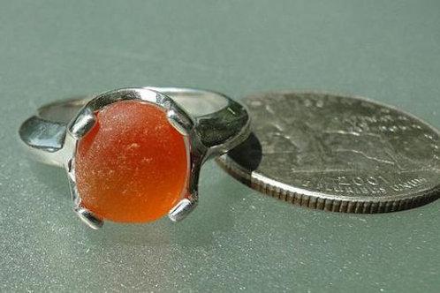 Sterling Silver Orange Prong Set English Sea Glass Ring #2 Size 8