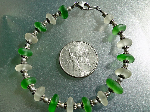 Sterling Silver Green White Sea Glass Bracelet #10