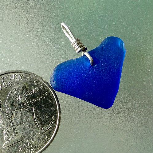Genuine Heart Shaped Sea Glass Cobalt Blue Pendant #21