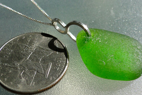 Lime Green S Bail Sea Glass Necklace #4