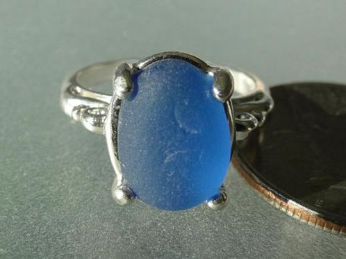 Sterling Silver Cornflower  Blue Prong Set English Sea Glass Ring #4 Size 8 1/4