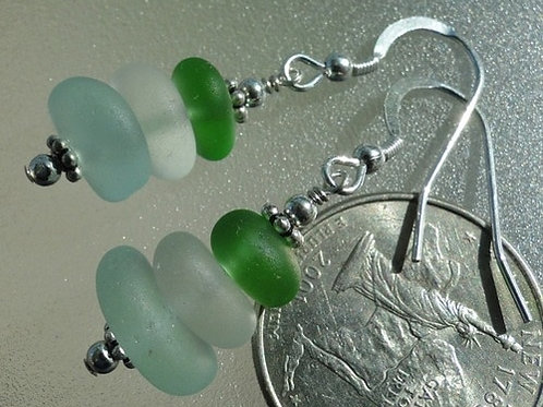 Sterling Silver Stacked Sea Glass Earrings #1