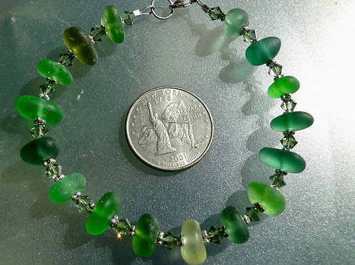 Sterling Silver Swarovski Crystal Shades of Green Sea Glass Bracelet #1