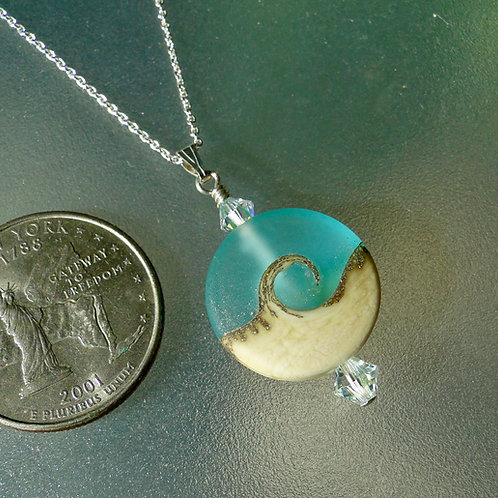 Catch the Wave Lampwork Bead Necklace Frosty Turquoise Spree