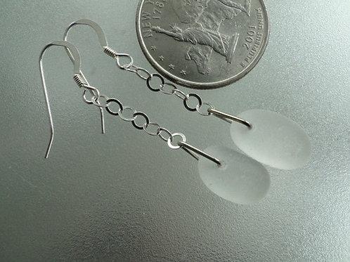 Dangle White Sea Glass Earrings #3