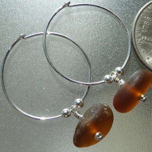 Sterling Silver Brown Hoop Sea Glass Earrings #5