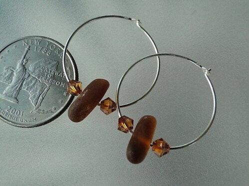 Sterling Silver Brown Hoop Sea Glass Earrings #16