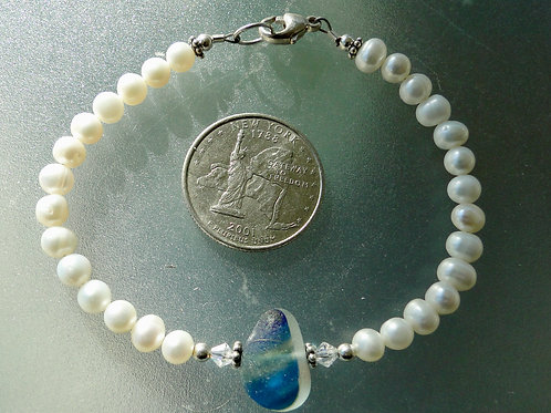 Freshwater Pearl Sterling Silver Blue English Sea Glass Bracelet #4