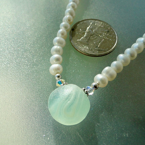 Freshwater Pearl Sterling Silver Pale Blue Swirl English Sea Glass Necklace #18