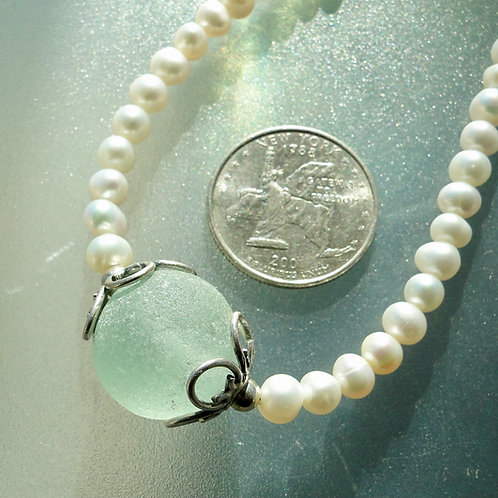Freshwater Pearl Sterling Silver Seafoam Marble Sea Glass Necklace #2
