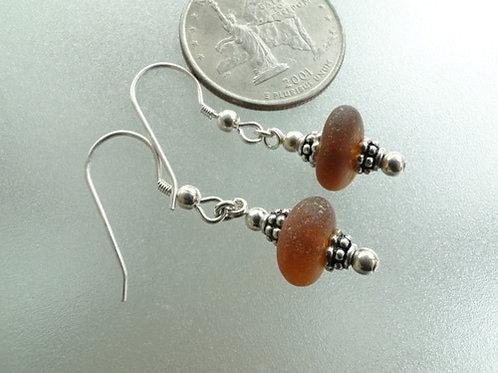 Drop Autumn Brown Sea Glass Earrings #5