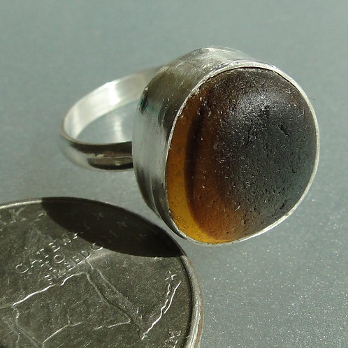 Sterling Silver Brown Bezel English Sea Glass Ring #11 Size 6