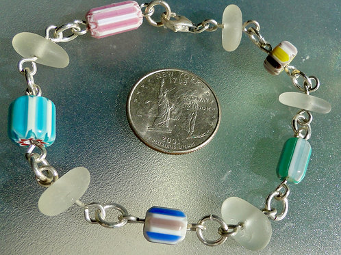 Sterling Silver White Sea Glass Bracelet with Millefiori Beads #4