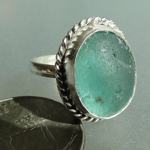 Sterling Silver Turquoise Bezel English Sea Glass Ring #6 Size 6 1/2