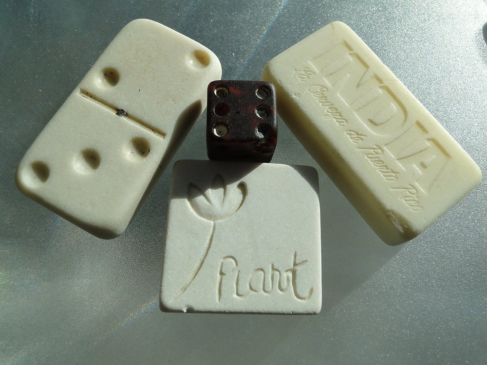 Sea glass dominos, dice, tile from Puerto Rico
