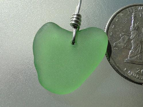 Genuine Heart Shaped Sea Glass Green Pendant #30