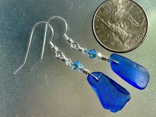 Cobalt Blue Sea Glass Earrings with Genuine Swarovski Crystals #26