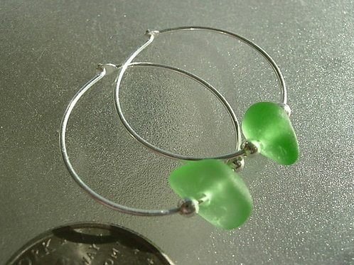 Sterling Silver Green Hoop Sea Glass Earrings #1