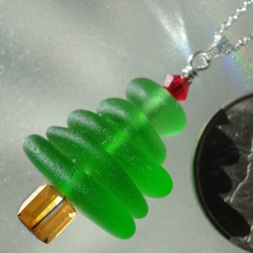 Sea Glass Sterling Silver Christmas Tree Necklace and Swarovski Crystals