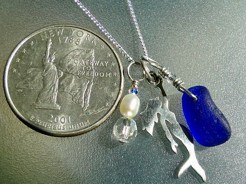 Sterling Silver Mermaid Pearl Blue Sea Glass Necklace #1