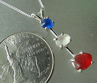 Sterling silver red white blue sea glass necklace