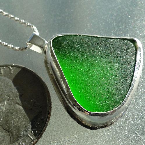 Green Bezel Set English Sea Glass Necklace