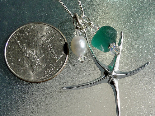 Sterling Silver Starfish Pearl Teal Sea Glass Necklace #1
