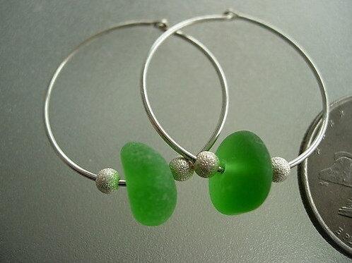 Sterling Silver Green Hoop Sea Glass Earrings #2