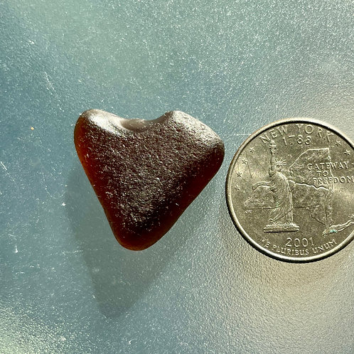 Genuine Amber Heart Shaped Sea Glass #7