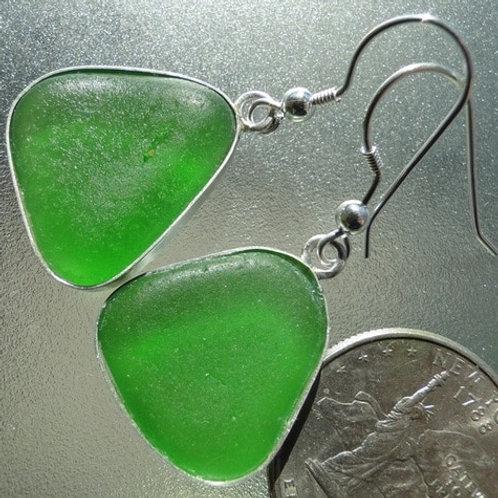 Bezel Set Kelly Green Sea Glass Earrings #10