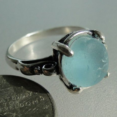 Sterling Silver Soft Blue Prong Set English Sea Glass Ring #5 Size 8 1/2