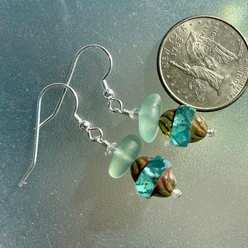 Funky Seafoam Sea Glass Earrings with Genuine Swarovski Crystals #24