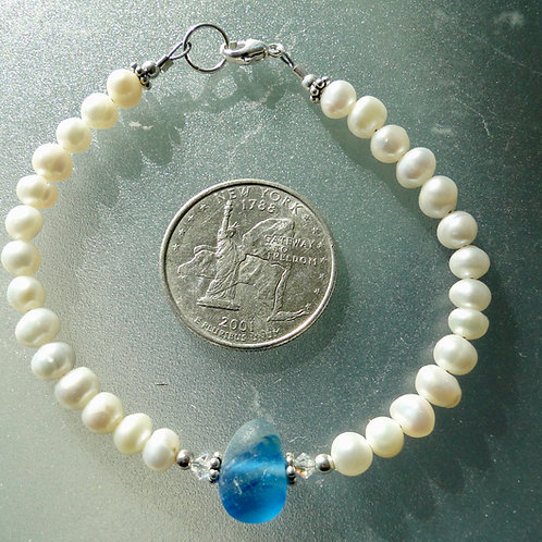 copy of Freshwater Pearl Sterling Silver Blue English Sea Glass Bracelet #9