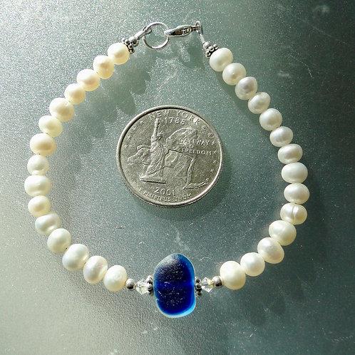 Freshwater Pearl Sterling Silver Blue English Sea Glass Bracelet #12