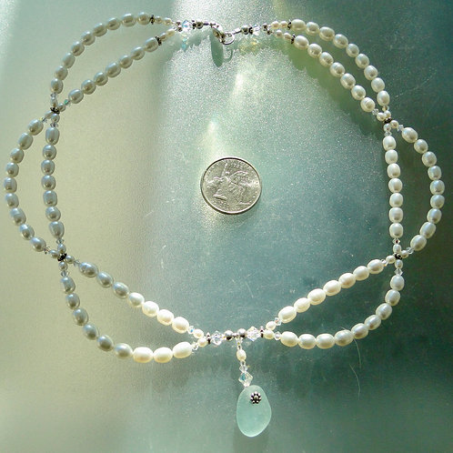 Freshwater Pearl Sterling Silver Seafoam Sea Glass Necklace #10