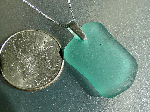 Sterling Silver Bail Turquoise Sea Glass Necklace #3