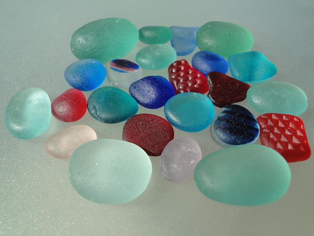 English sea glass, Red Sea glass and turquoise sea glass