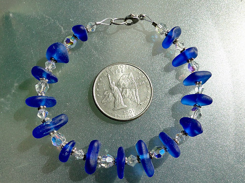 Sterling Silver Swarovski Crystal Cobalt Blue Sea Glass Bracelet #5