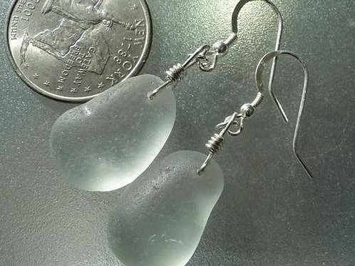 Soft Grey Sea Glass Earrings #2