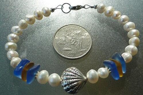 Freshwater Pearl Karen Hill Tribe Sterling Silver Sea Glass Bracelet #4