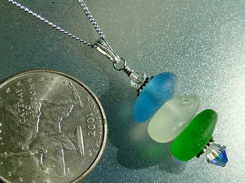 Sterling Silver Multi Color Stacked Sea Glass Necklace #2