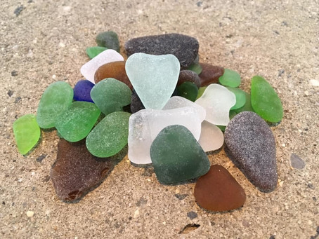 Round #2 of sea glass hunting with a perfect heart shard to be found!