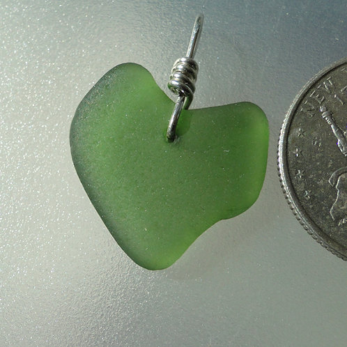 Genuine Heart Shaped Sea Glass Dark Green Pendant #29