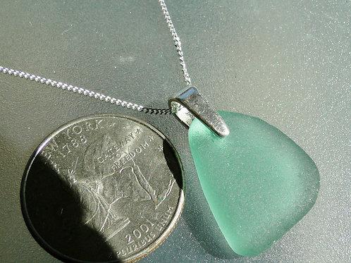 Sterling Silver Bail Aqua Sea Glass Necklace #9