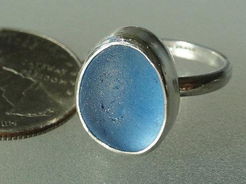 Sterling Silver Cornflower Blue Bezel English Sea Glass Ring #2 Size 8