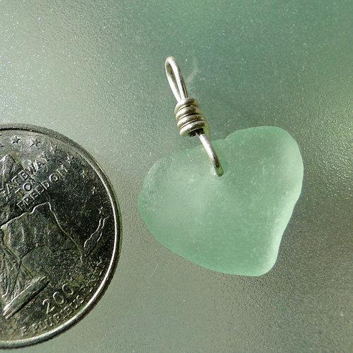 Genuine Heart Shaped Sea Glass Seafoam Pendant #5