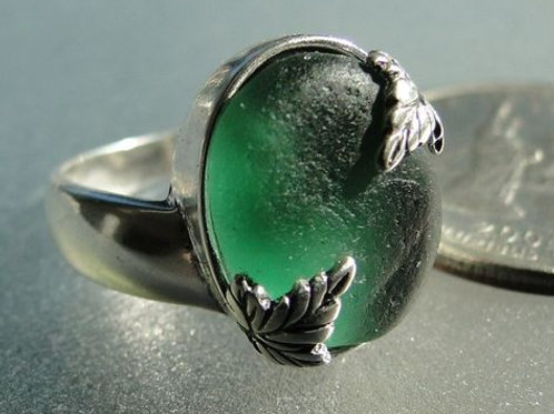 Sterling Silver Forest Green Leaf Prong Set Sea Glass Ring #8 Size 7